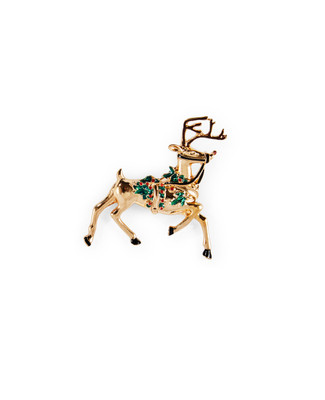 Gold reindeer with red and green foliage brooch