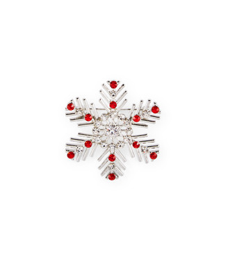 Silver snowflake with red jewels brooch