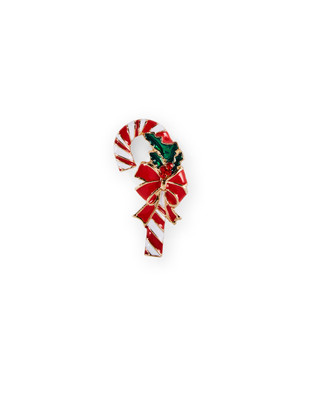 Red and white candy cane brooch