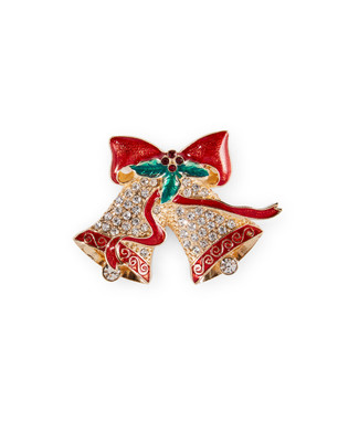 Red and silver holiday bells brooch