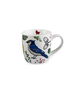White cardinal bird coffee mug