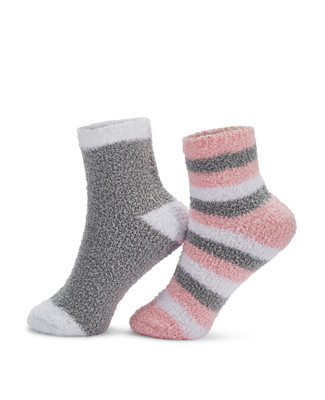 Woman's 2 pack cozy socks featuring a solid and striped pair