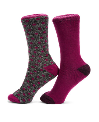 Ladies purple two pack purple thermal socks