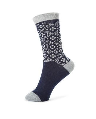 Charcoal angora jacquard boot socks
