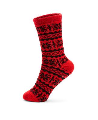 Red slipper grip jacquard socks
