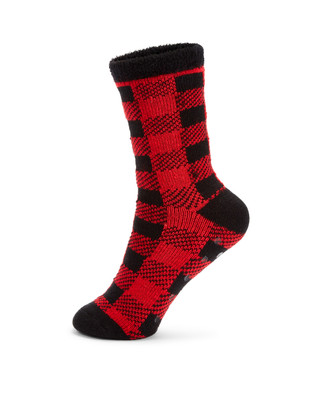Red and black plaid holiday socks
