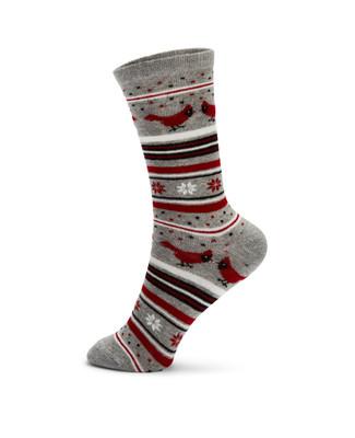 Light grey novelty cardinal jacquard socks