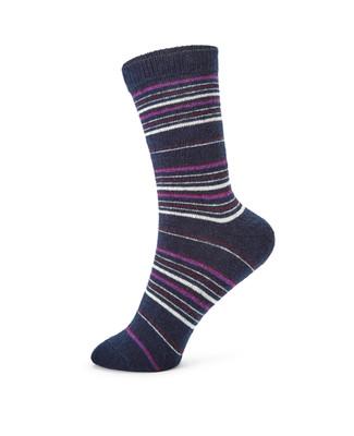 Ladies navy multi striped angora socks