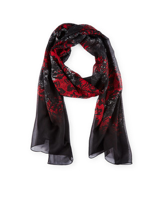 Woman's black lace printed scarf