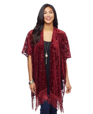 Woman's claret velvet kimono