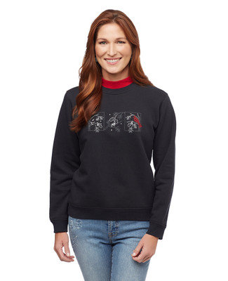 Woman's petite black cardinal mock neck sweatshirt