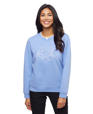 Woman's blue petite animals notch sweatshirt