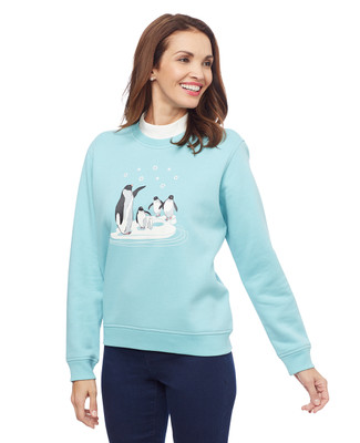 Women's petite aqua blue penguin family mock neck sweater