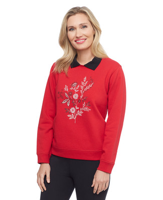 Woman's collared red sweatshirt with floral screenprint