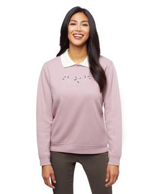 Woman's petite pink wintery scroll collar sweatshirt sweater