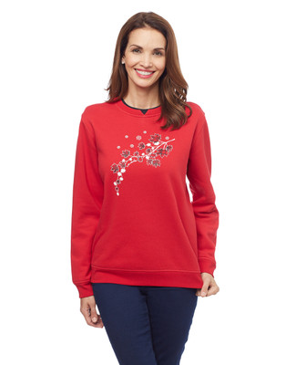 Woman's red Canadian maple leaf notch sweatshirt