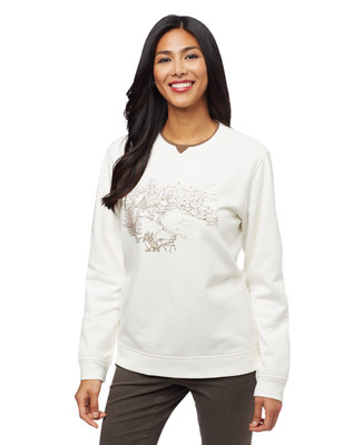 Woman's white sleigh scenic notch sweater