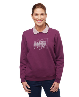 Woman's wine  scenic cat collar sweatshirt sweater