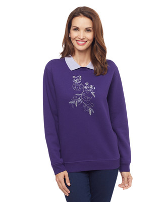 Woman's purple bird scroll collar sweatshirt sweater