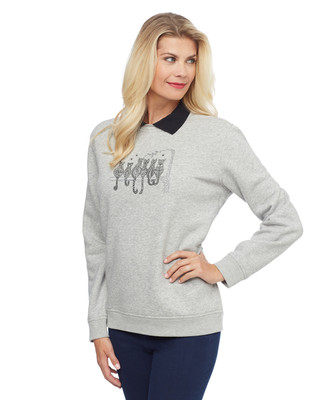 Woman's collared grey sweatshirt with cats screenprint