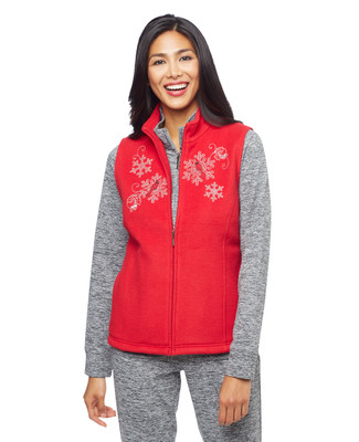 Woman's red cardinal snowflake applique kitch vest
