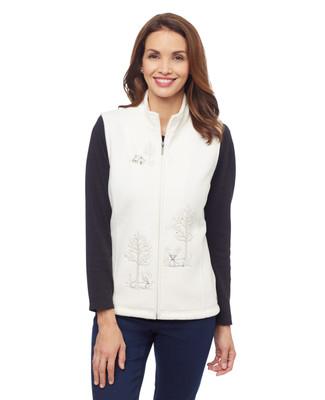 Woman's white deer applique kitch fleece vest