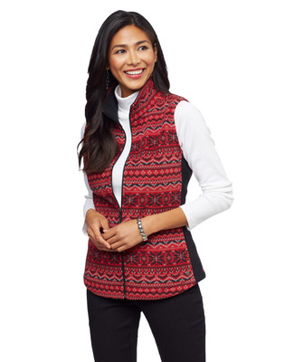 Women's red printed jacquard snowflake kitch fleece vest