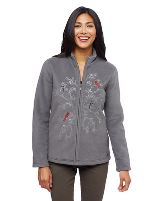 Women's charcoal cardinal applique kitch fleece jacket