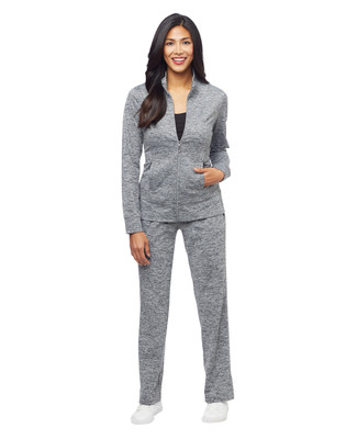 Woman's charcoal marled stand collar activewear jacket