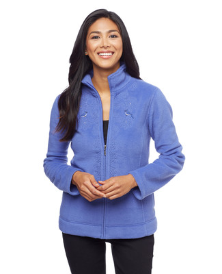 Women's blue snowflake applique kitch fleece jacket