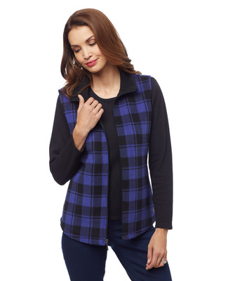 Woman's blue plaid fleece bonded vest