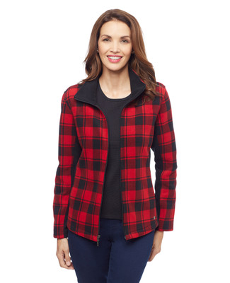 Woman's red plaid fleece bonded jacket