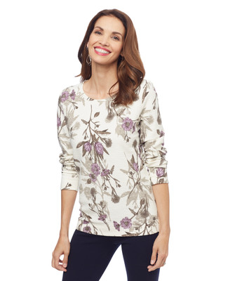 Woman's floral printed white pullover sweater