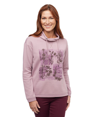 Woman's pink funnel neck graphic pullover