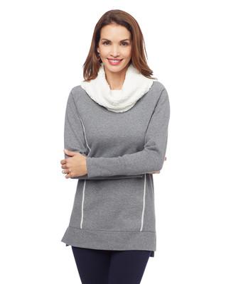 Woman's grey cowl neck sweatshirt