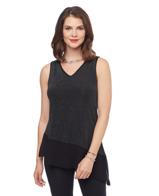 Woman's sleeveless black shimmer top with asymmetrical hem