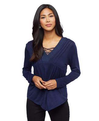 Woman's indigo blue crochet lace up top
