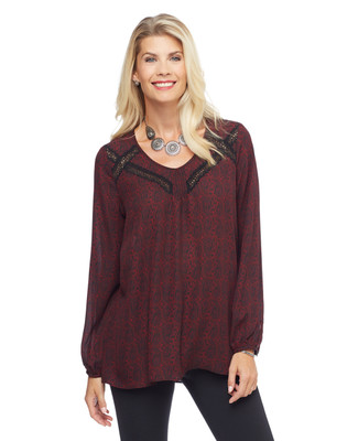 Woman's long sleeve blouse with bell sleeves, paisley print and lace insert