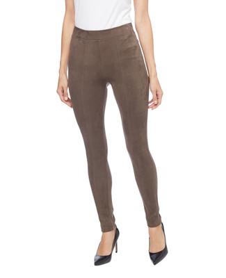 Woman's loden micro suede leggings with side zip