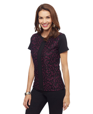 Woman's wine two tone lace pattern top
