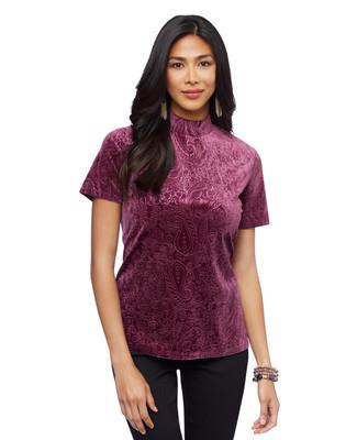 Woman's wine velvet pattern mock neck top