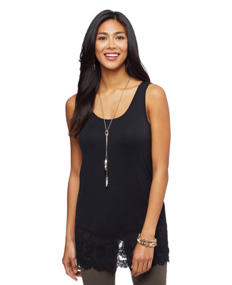 Woman's black tank top with lace hem