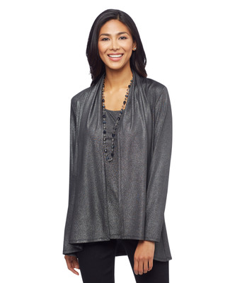 Women's black metallic open cardigan sweater