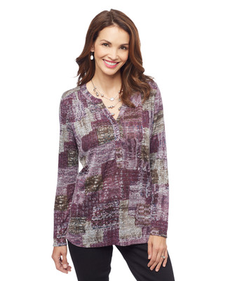 Woman's wine Y neck patchwork long shirt