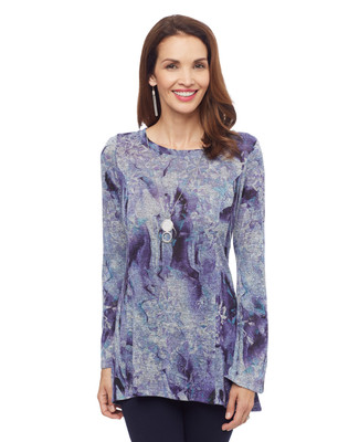 Woman's purple abstract print swing top with bell sleeves