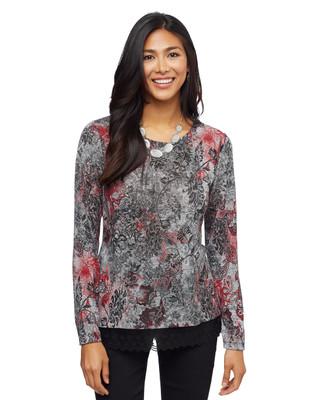 Woman's multi colour printed lace hem top