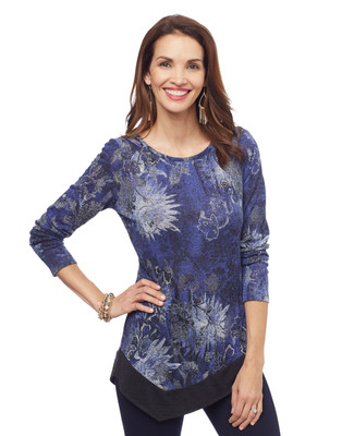 Woman's blue printed tunic top with asymmetrical hem