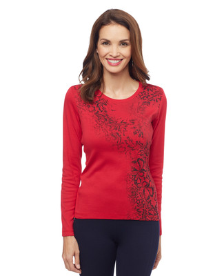 Women's petite red printed floral lace graphic tee