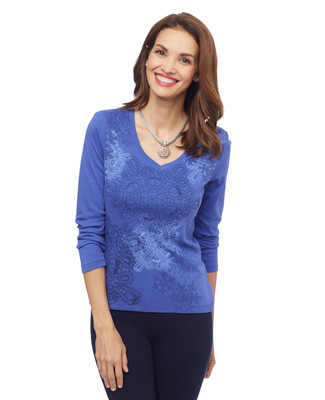 Woman's petite blue V neck tee with snowflake graphic