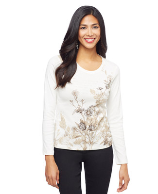 Women's petite white floral graphic crew neck tee